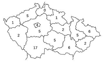 Počet případů klíšťové encefalitidy, které byly hlášeny jako nemoc z povolání v České republice v letech 2001-2015 podle kraje vzniku