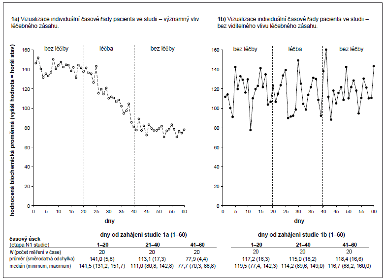 Příklad 1. Ukázka datových výstupů a běžného statistického shrnutí N1 studie.