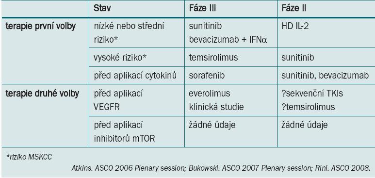 Nové standardy pro léčbu karcinomu ledviny z jasných buněk: doporučení.