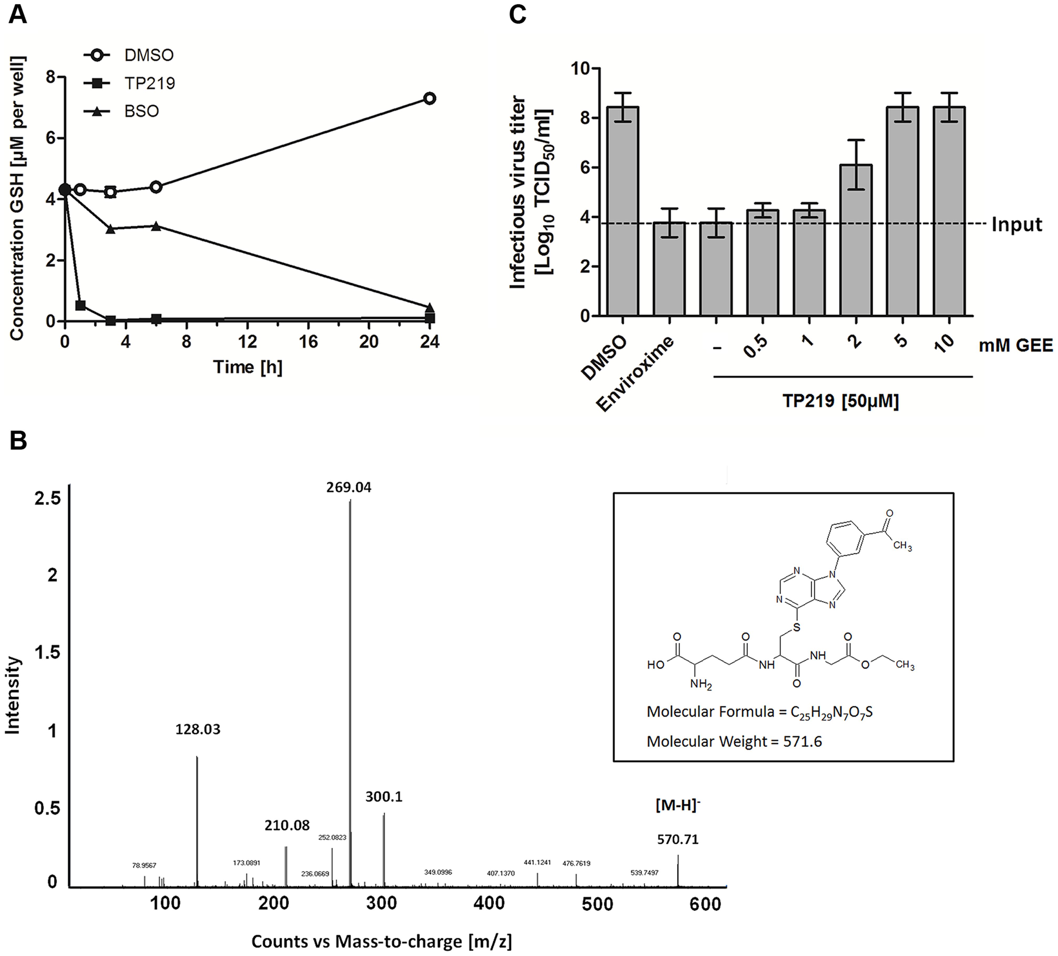 TP219 depletes intracellular GSH levels via a covalent bond.