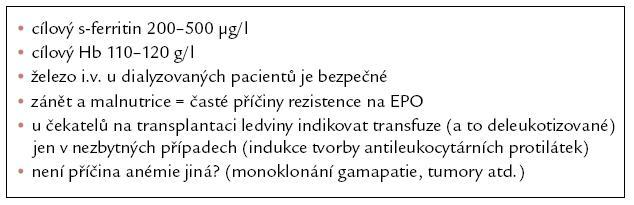 Shrnutí léčby renální anémie v bodech.