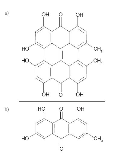 Fig. 1. Chemical structure of hypericin (a) and emodin (b)