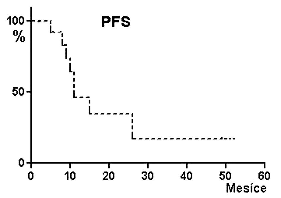 Pravděpodobnost přežívání bez progrese/relapsu (PFS) pacientů po alogenní transplantaci krvetvorných buněk s přípravným režimem FLU/MEL. Pravděpodobnost PFS dva roky 34 %, medián PFS 11 měsíců.