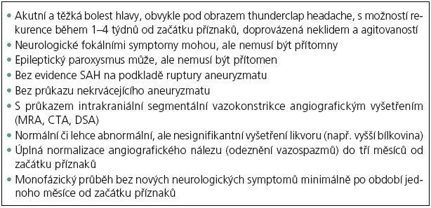Diagnostická kritéria pro RCVS.