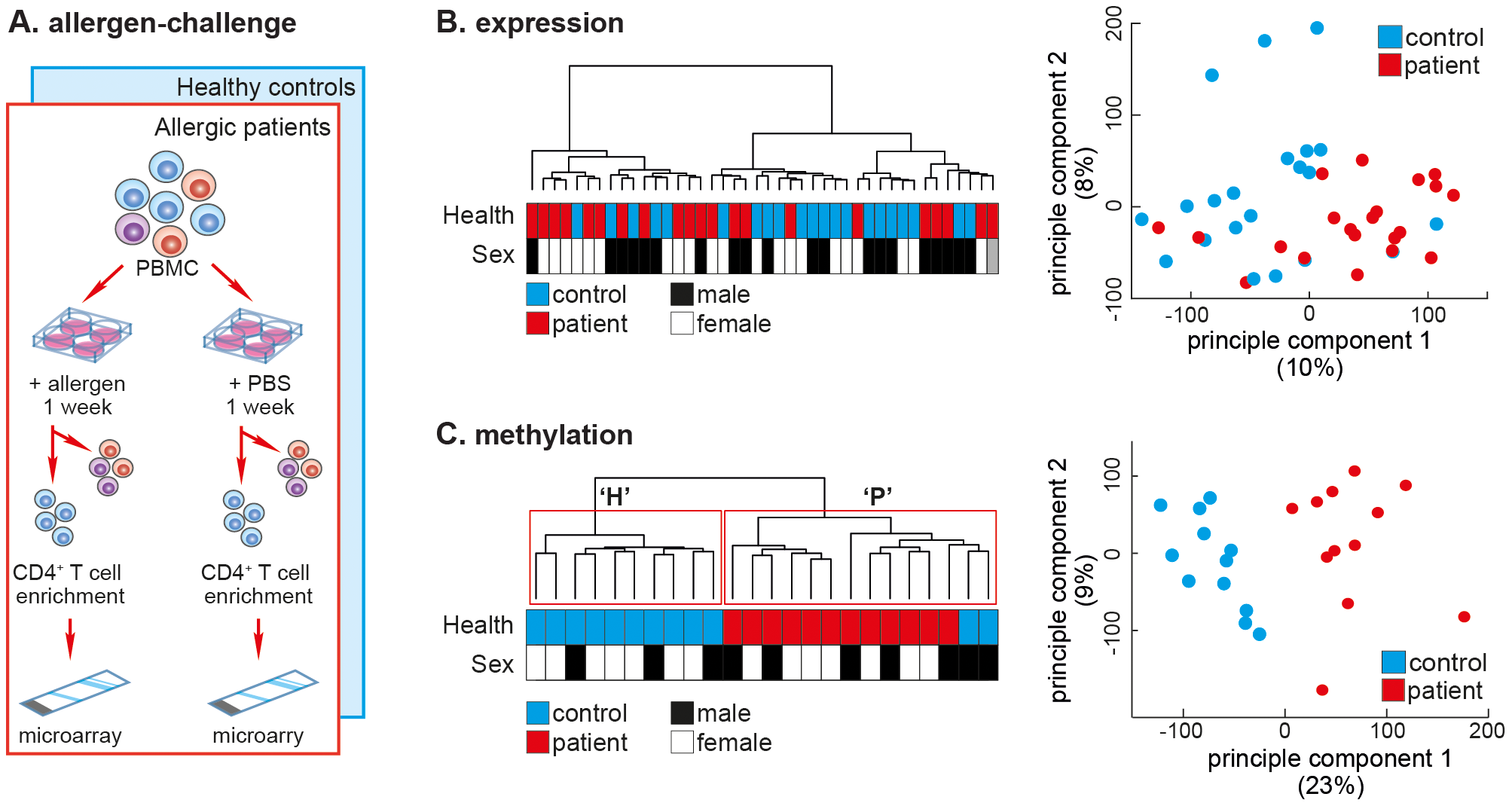 The DNA methylation profile of allergen-challenged CD4<sup>+</sup> T-cells separates SAR patients from healthy controls.