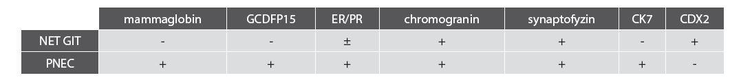Souhrn vyšetřovaných markerů u NET GIT v porovnání s PNEC.