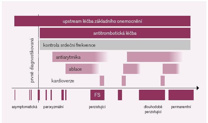 Obr. 1. Přehled léčby pacienta s jednotlivými typy fibrilace síní. Primární je prevence a ovlivnění chorob, které vedou ke vzniku arytmie, tzv. upstream léčba [podle 1].