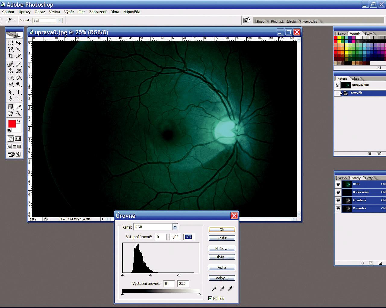 Úprava histogramu snímku