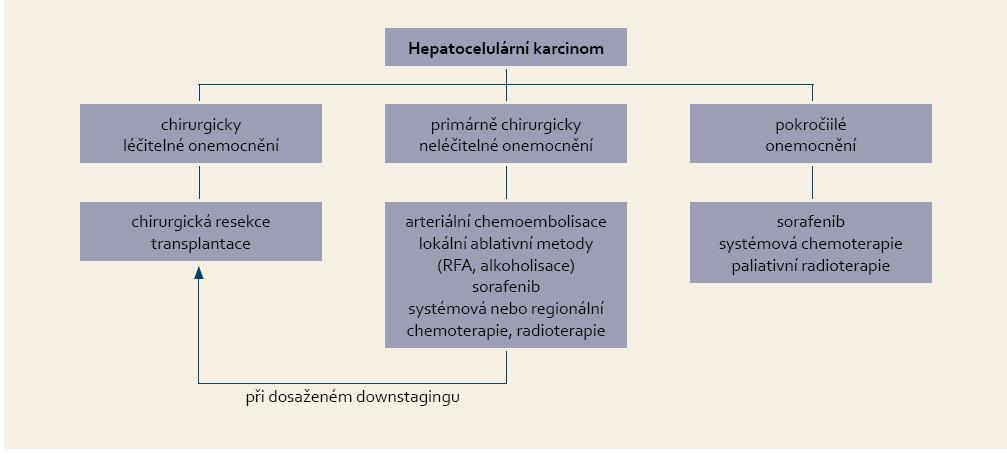 Indikace systémové léčby hepatocelulárního karcinomu. Tab. 2. Suggestions for systemic treatment of hepatocellular carcinoma.