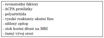 Negativní prognostické ukazatele průběhu RA.