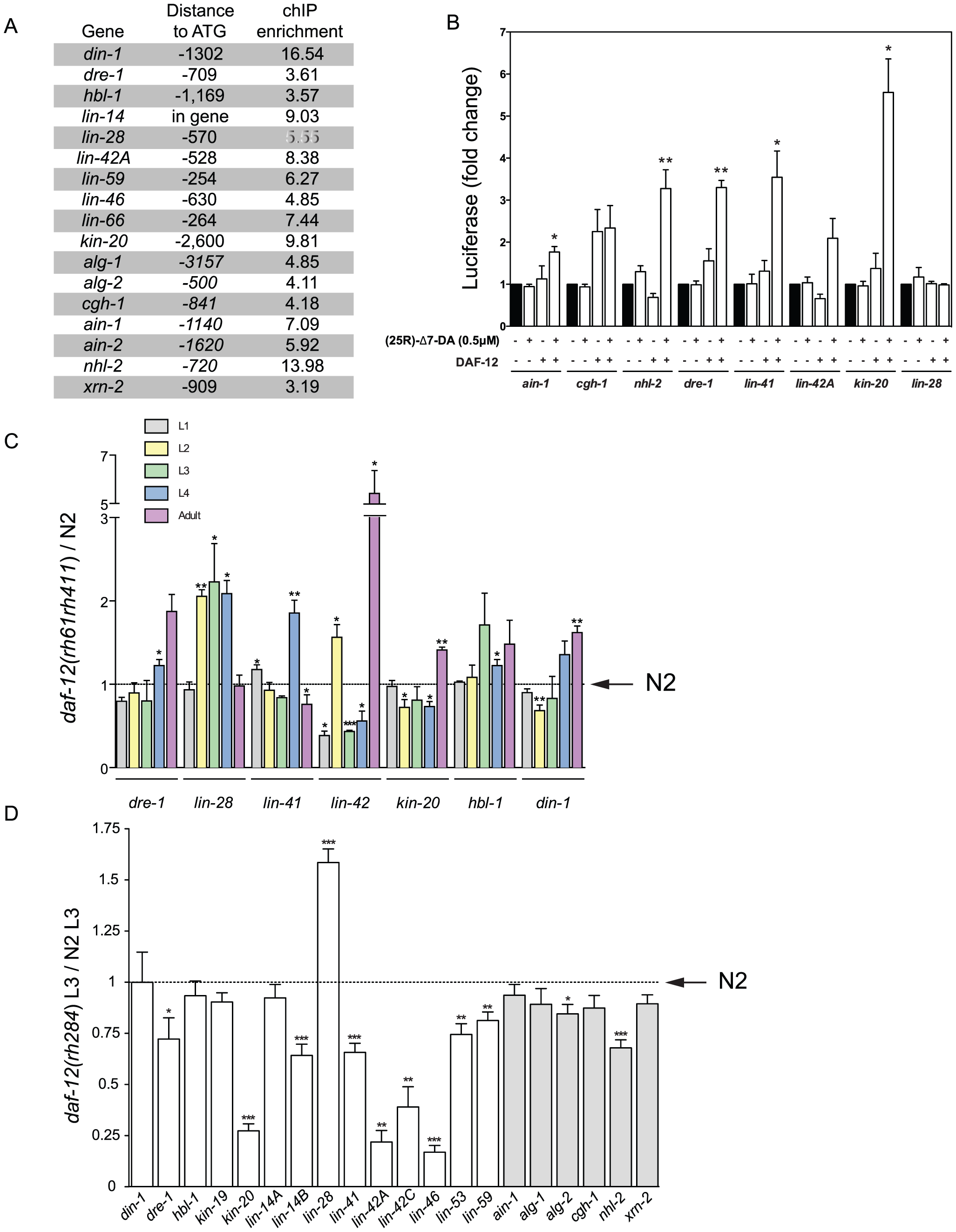 DAF-12 regulates heterochronic and miRISC gene expression.