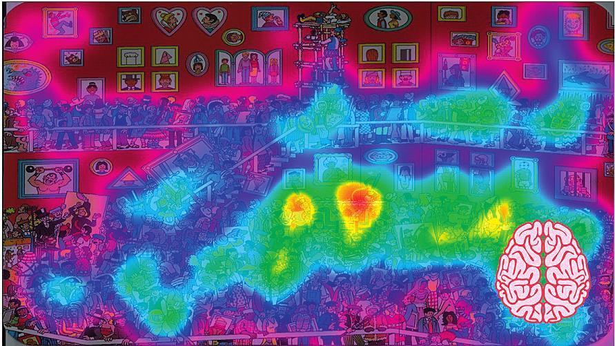Obr. 3c HeatMap zobrazení symetrického rozložení u zdravého probanda.