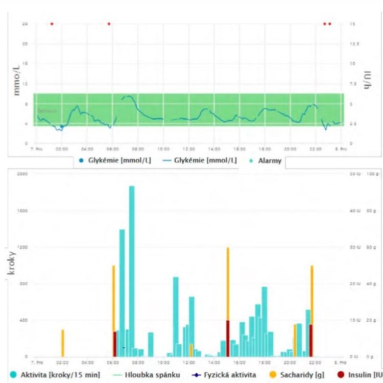 Příklad zobrazení jednodenního záznamu glykémií, dávek inzulínu, konzumace sacharidů a fyzické aktivity u pacienta s diabetem prostřednictvím webového portálu Diani
