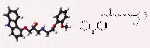 Chemická struktura carvedilolu.