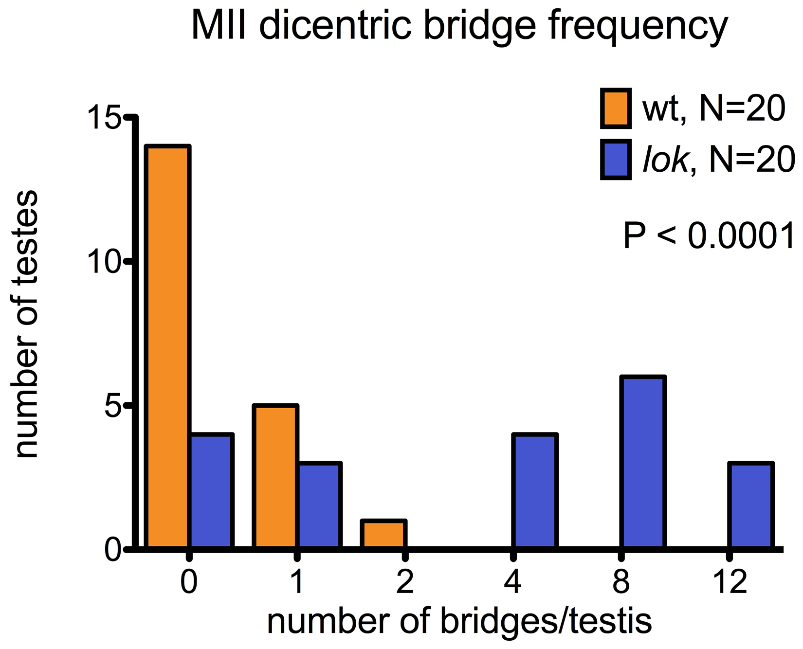 Dicentric bridge frequency in Meiosis II.