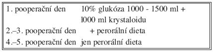 Složení pooperační nutriční podpory (segmentektomie, klínovitá resekce, n = 100) Tab. 4. Postoperative nutritional support contents (segmentectomy, wedge resection, n = 100)