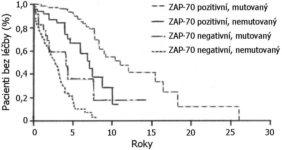 Vztah mezi ZAP-70, mutačním stavem a časem od diagnózy do první terapie u pacientů s chronickou lymfatickou leukemií. Rozdíly mezi nemocnými ZAP-70+ s nemutovaným (spodní křivka) nebo mutovaným IgVH (křivka nad ní) nedosáhly statistické signifikance. Rozdíly u ZAP-70- nemocných podle mutačního stavu statisticky signifikantní jsou, nejlepší prognózu měli pacienti ZAP-70- s mutovaným IgVH (horní křivka). Podle: Rassenti et al., 2004 (40).