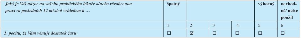 Ukázka druhého typu odpovídání v dotazníku EUROPEP