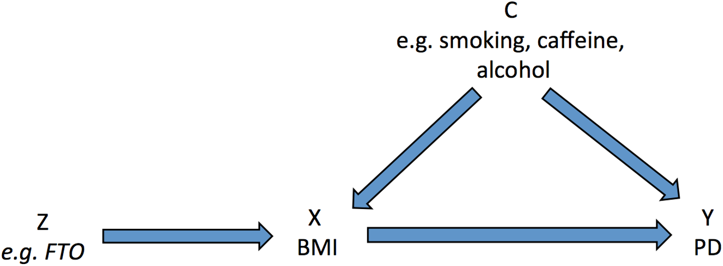 Directed acyclic graph of instrumental variable analysis using genetic variants as proxies for environmental exposures (adapted from Lawlor et al. [<em class=&quot;ref&quot;>14</em>]).