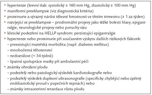 Přístup k těhotným ženám s hypertenzí [11].