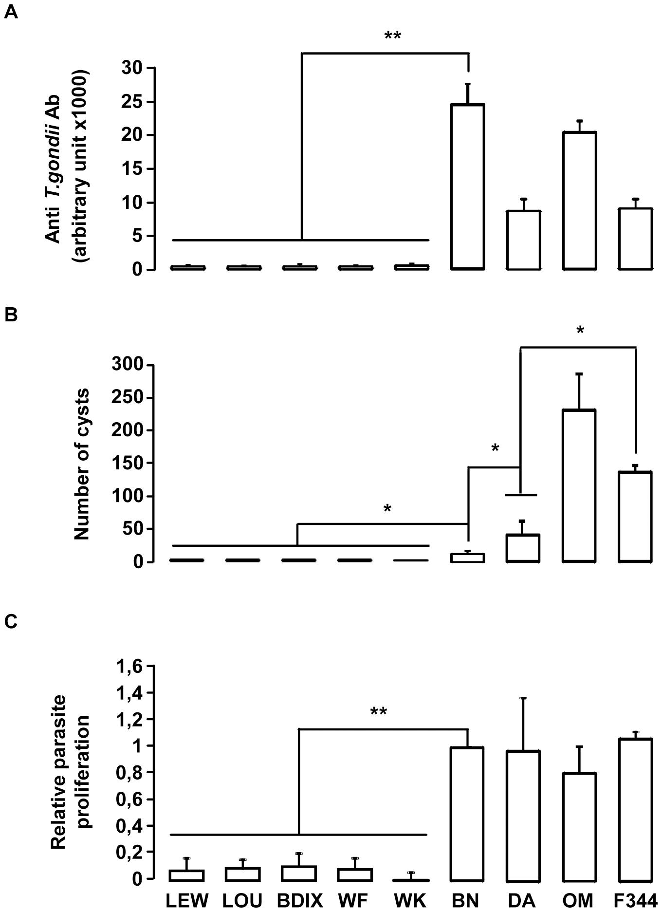 <i>In vivo</i> and <i>in vitro</i> phenotypes of the nine inbred strains following <i>T. gondii</i> infection.