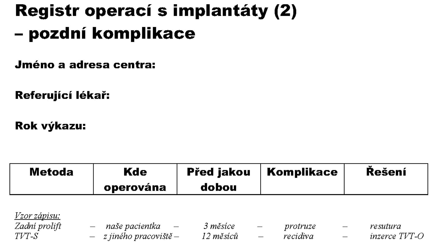 Obr. 1b. Formulář registru používaný ke sběru dat za rok 2008 – 2. strana