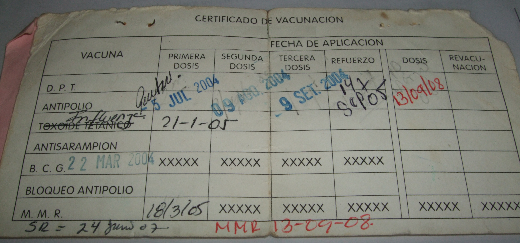 Several instances of improvisation on a vaccination card.