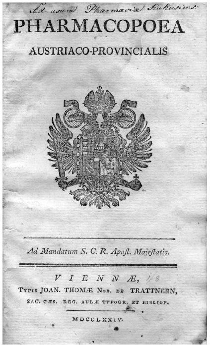 Titulní list lékopisu z roku 1774