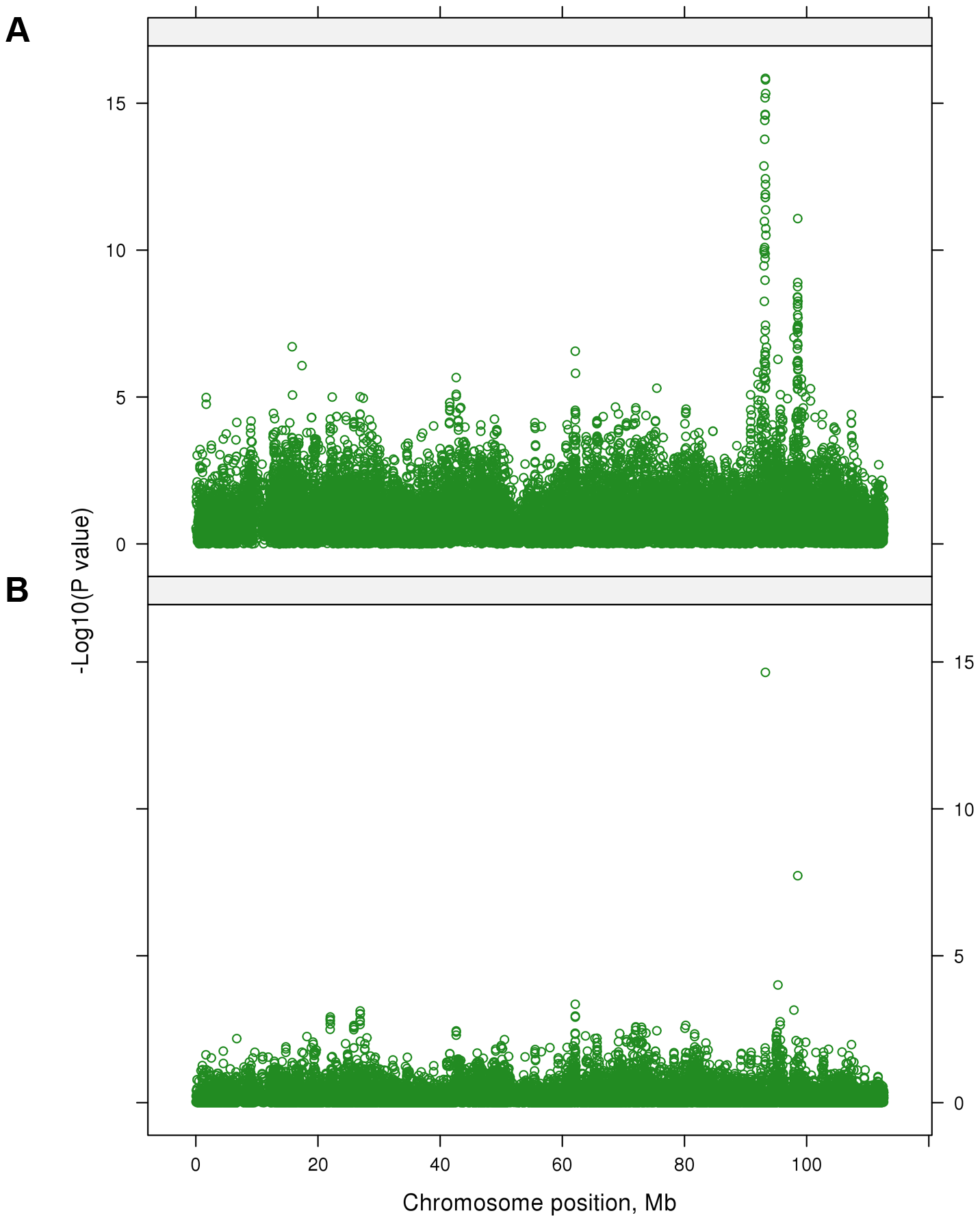 The −log<sub>10</sub>(<i>P</i>-values) of the multi-trait test calculated using SNP effects from the single-trait GWAS for 32 traits on BTA 7 before (A) and after (B) fitting 28 lead SNPs in the model.