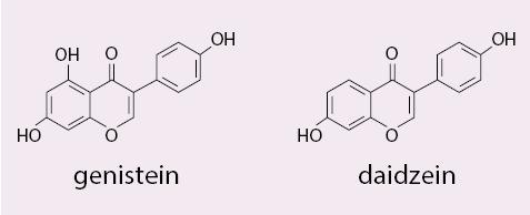 Obr. Chemické vzorce genisteinu a daizeinu