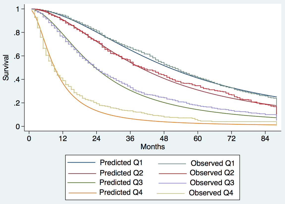 Expected versus observed survival in the training cohort.