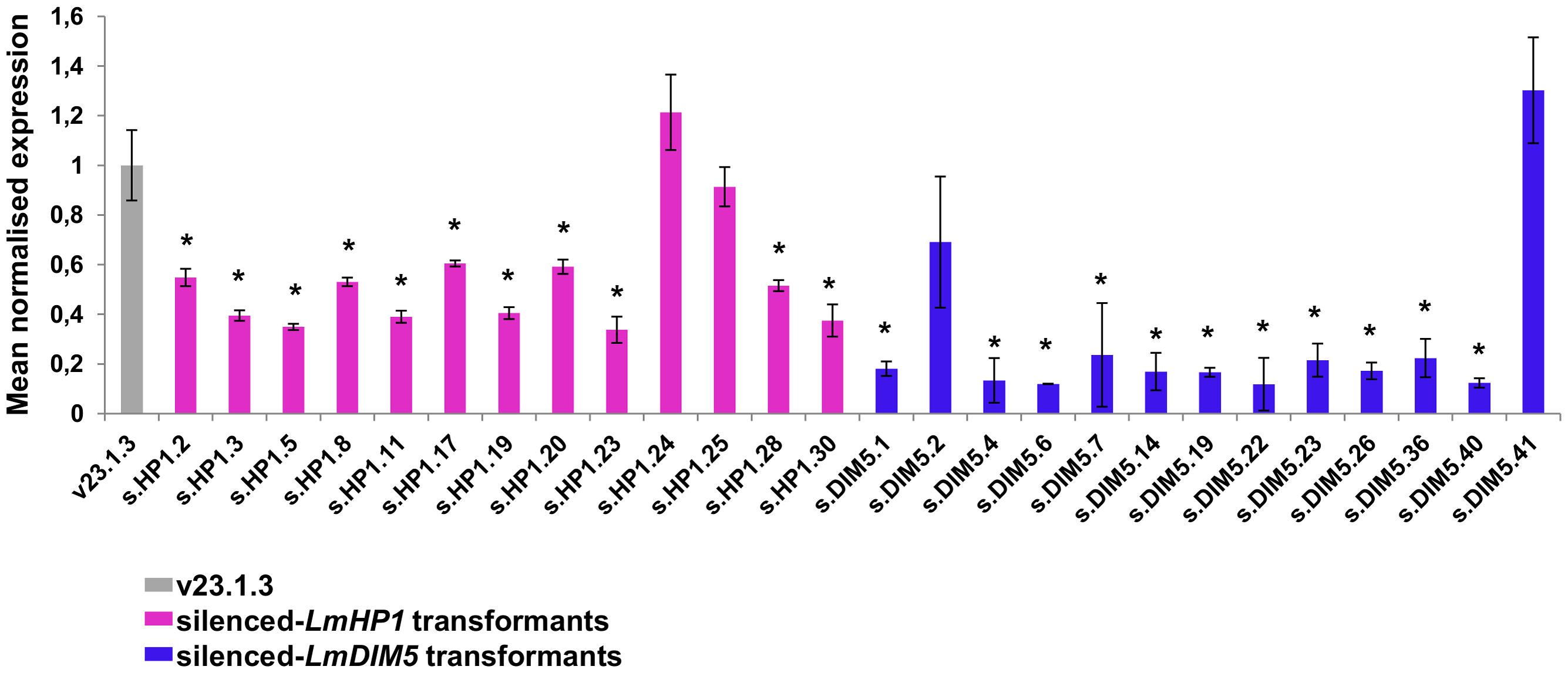 Levels of expression of <i>LmHP1</i> and <i>LmDIM5</i> in <i>L. maculans</i> isolate v23.1.3 silenced by RNAi.