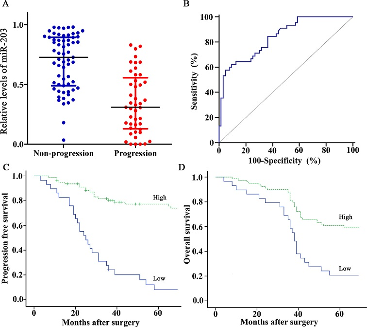 Expression and prognosis of miR-203 for bladder cancer patients treated with cisplatin-based chemotherapy. (A) miR-203 levels were detected by RT-qPCR method and normalized against U6 RNA in 108 cases of bladder cancer tissues. Levels of miR-203 in progression group were significantly lower than those in non-progression group (P<0.001, Mann-Whitney U test). (B) ROC curve distinguished patients with progression from those without progression using miR-203, with an area under the ROC curve value of 0.839 (95% CI, 0.756–0.903). (C, D) Kaplan-Meier PFS and OS curves based on miR-203 expression of bladder cancer patients. The optimal cut off value (0.345) calculated by ROC analysis was used to classify the patients as high and low miR-203 expression groups. Low expression of miR-203 was significantly correlated with shortened PFS or OS (Both P<0.001, log-rank test).