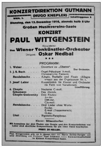 Oznámení koncertu Paula Wittgensteina (12. prosince 1916)