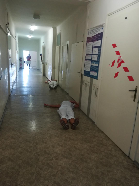 <em><strong>Obr. 3</strong> I takto by mohly vypadat chodby nemocnice po řádění teroristů. Foto: Magda Hettnerová</em>