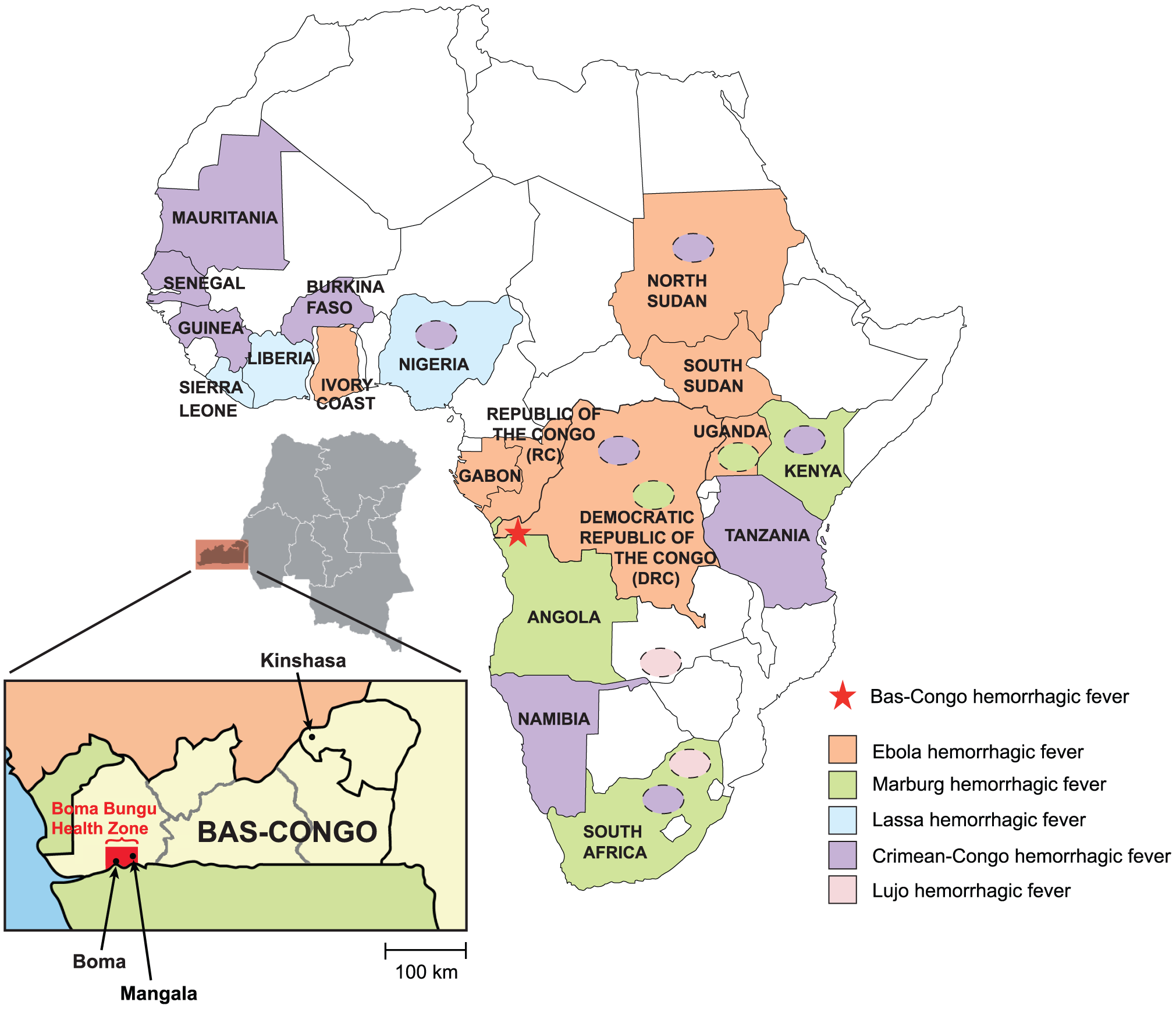 Map of Africa showing countries that are affected by viral hemorrhagic fever (VHF) outbreaks.