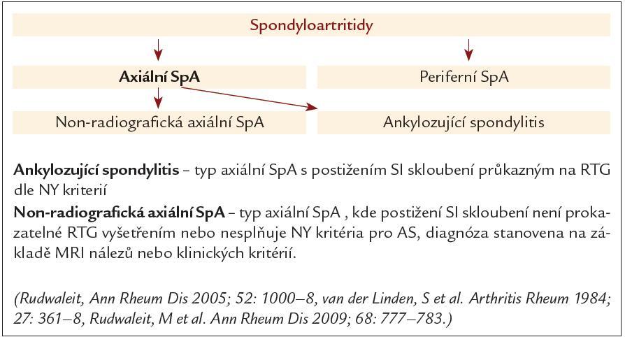 Rozdělení spondyloartritid.