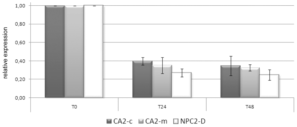 CA2-m, CA2-c, and NPC2-D expression in response to imposed thermal stress.