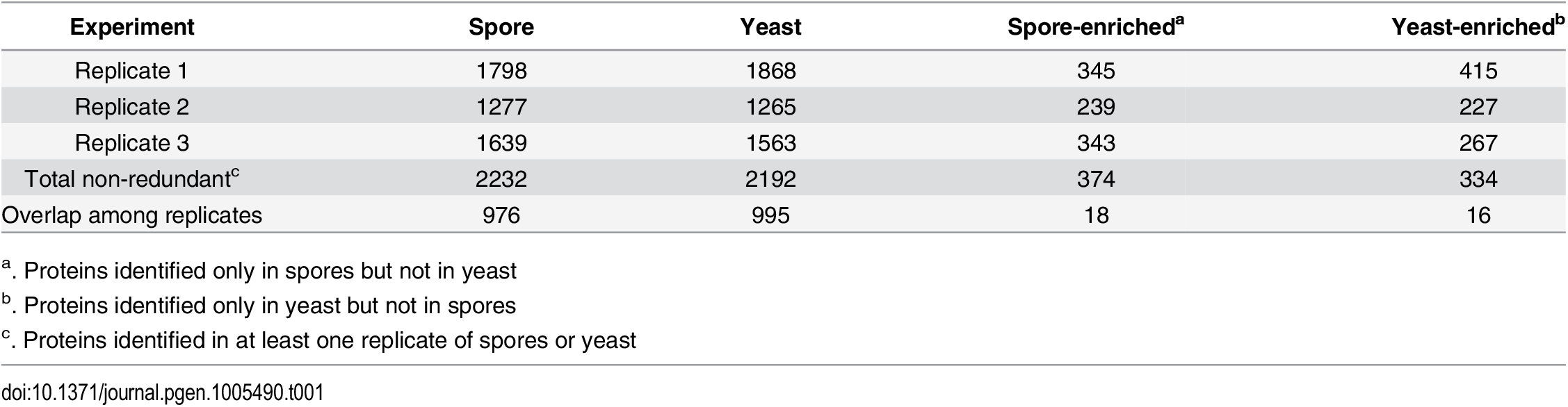 Number of proteins identified in spores and yeast.
