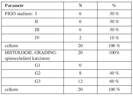 Charakteristika skupiny cervikálních karcinomů (FIGO stadium, histologie, grading)