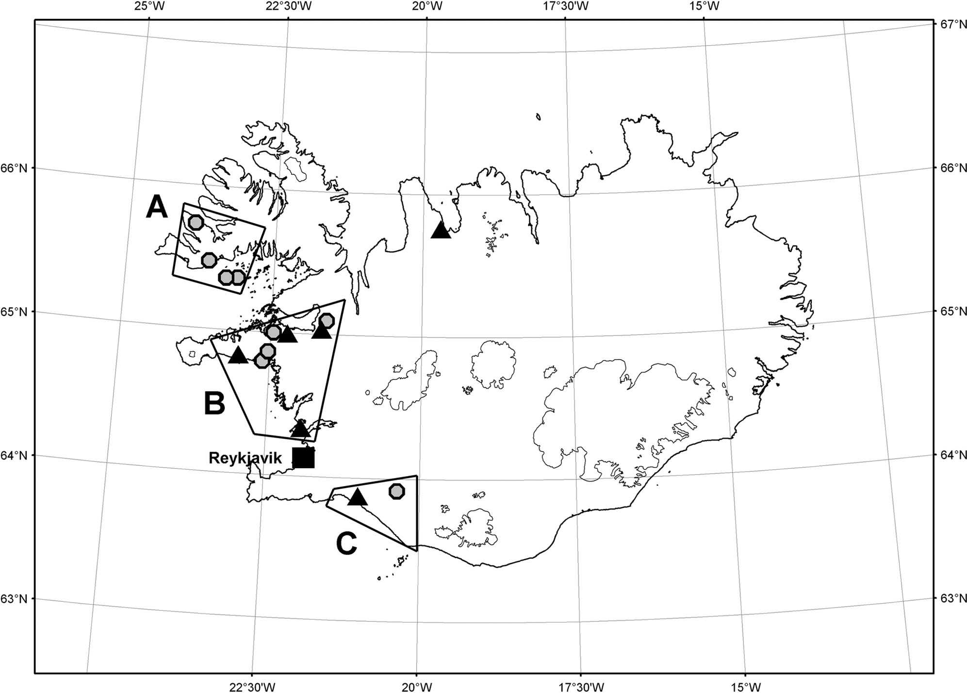 A map of Iceland demonstrating the geographical distribution of families with the HCCAA mutation around the year 1800.