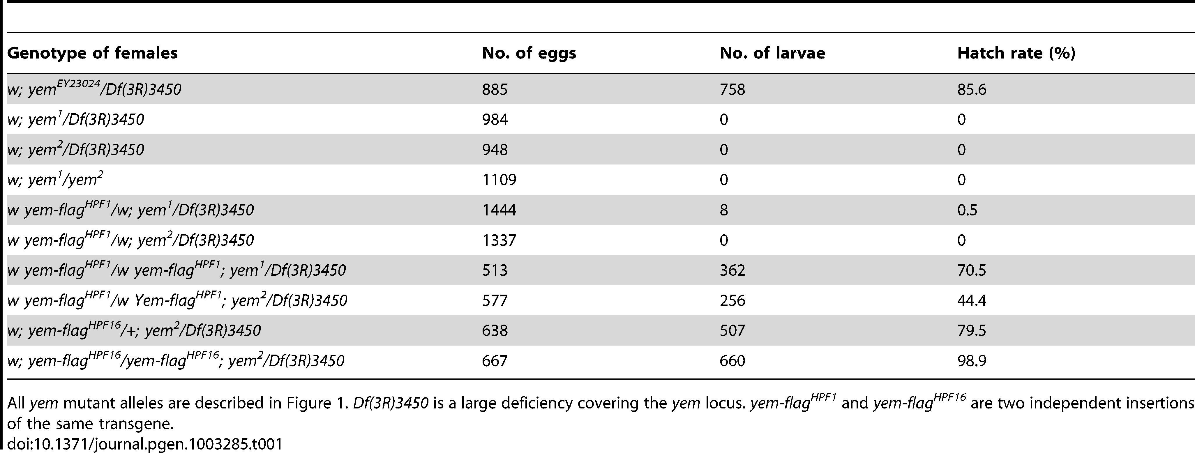 Female sterility associated with <i>yem</i> mutations.
