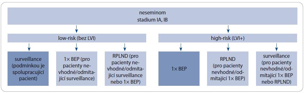 Schéma 1. Doporučení adjuvantní terapie neseminomů stadia IA, IB.