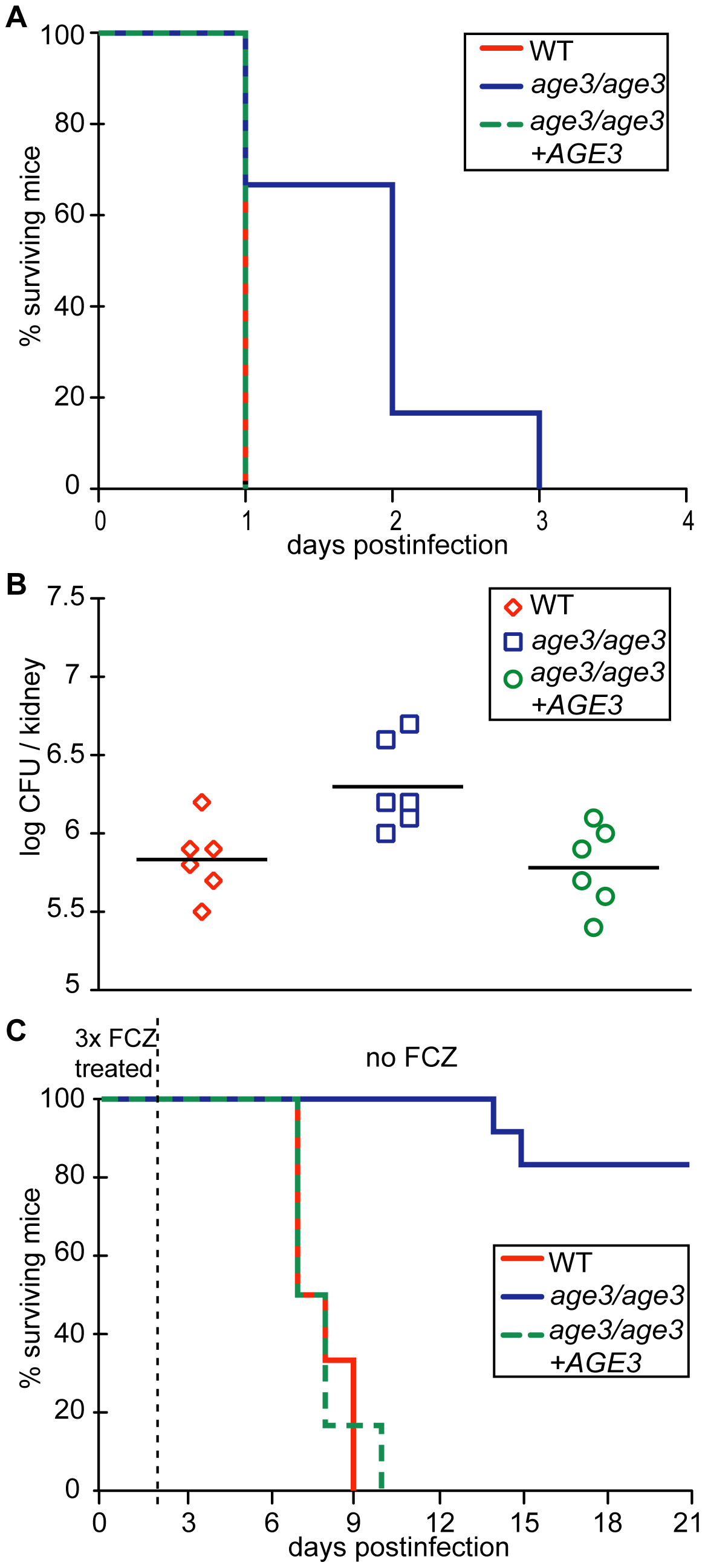 <i>age3</i> mutants are attenuated in virulence in A/J mice and FCZ treatment significantly extends survival of <i>age3</i>-infected A/J mice.