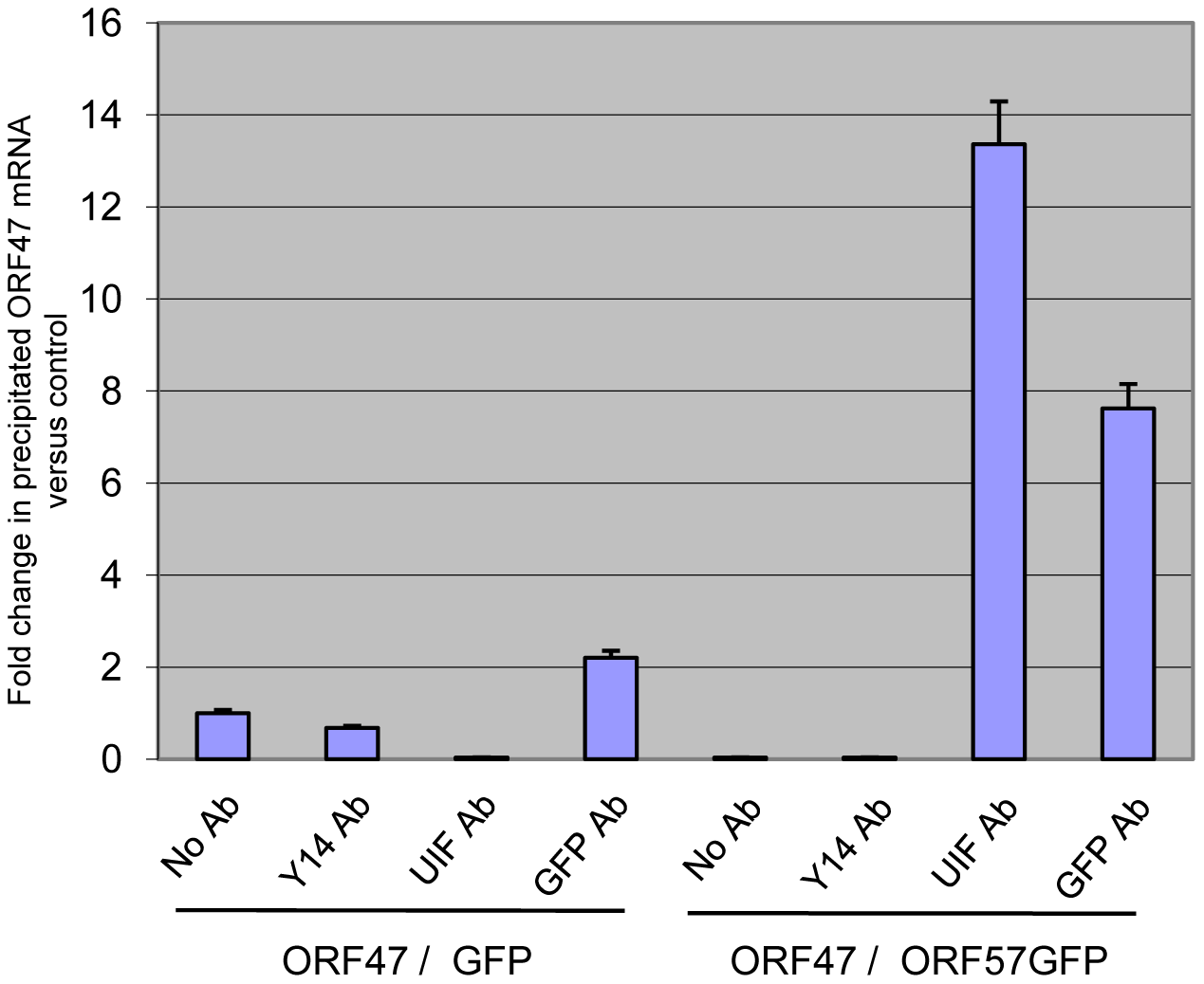 ORF57 is required for the recruitment of UIF to a KSHV intronless mRNA.