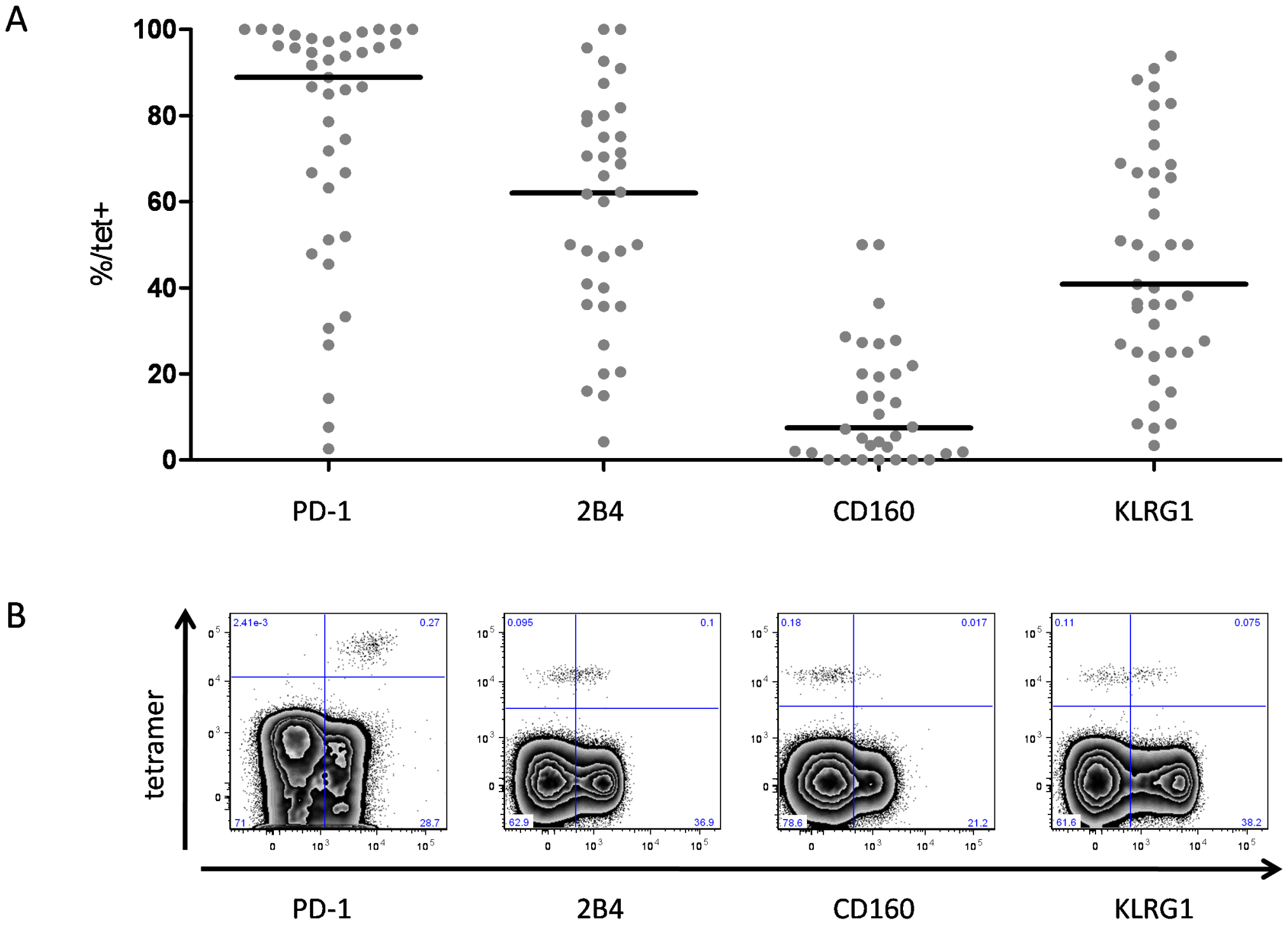 Expression of PD-1, 2B4, CD160 and KLRG1 on HCV-specific CD8+ T cells.