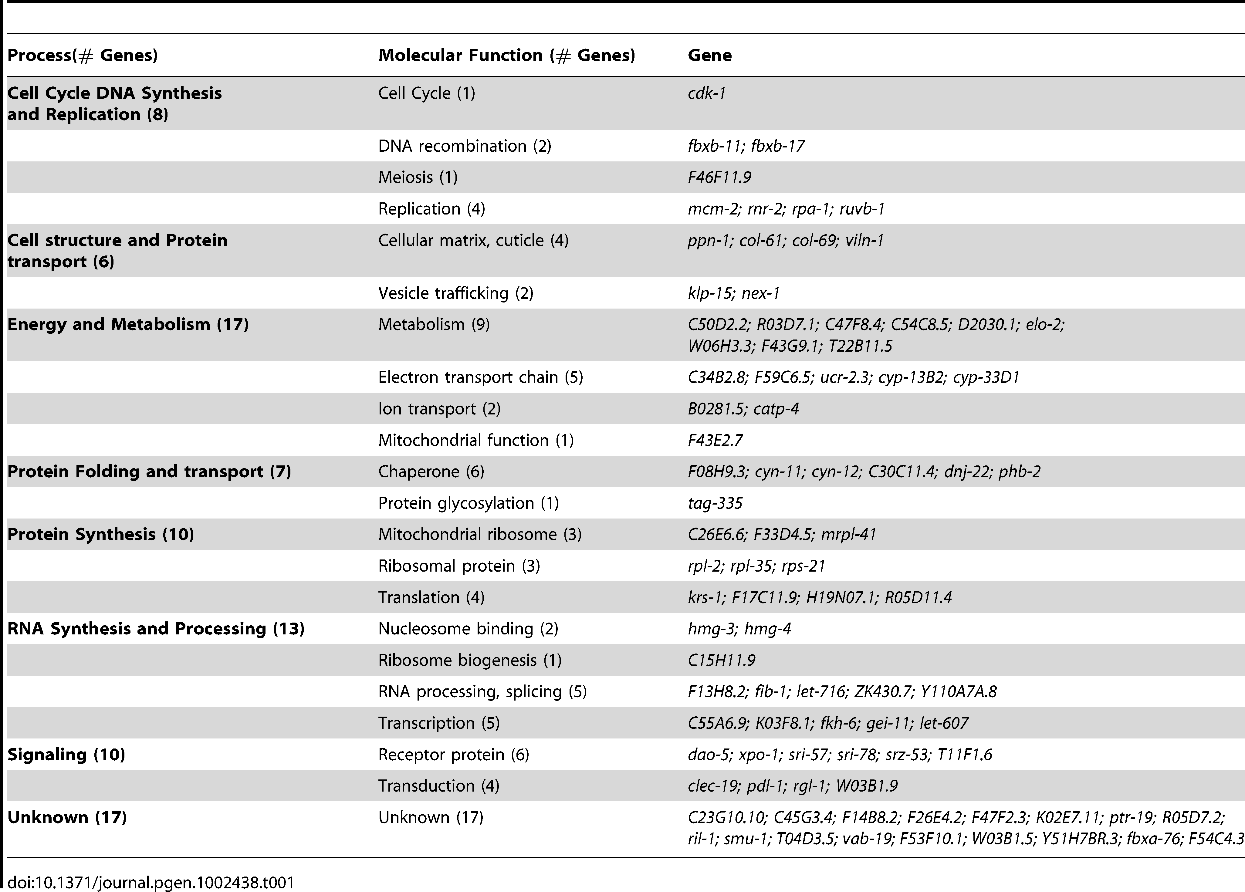 Overview of the modifiers that suppress Q35 and Q37 (Class A) aggregation in <i>C. elegans</i> BWM cells.