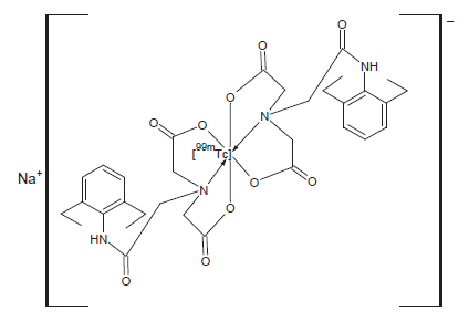 <i>Struktura [<sup>99m</sup>Tc]technecium-EHIDA. Možné názvy IUPAC: N-(2,6-diethylacetanilido)iminodioctová kyselina, [(2,6-diethylfenylkarbamoyl) methyl]iminodioctová kyselina.</i>