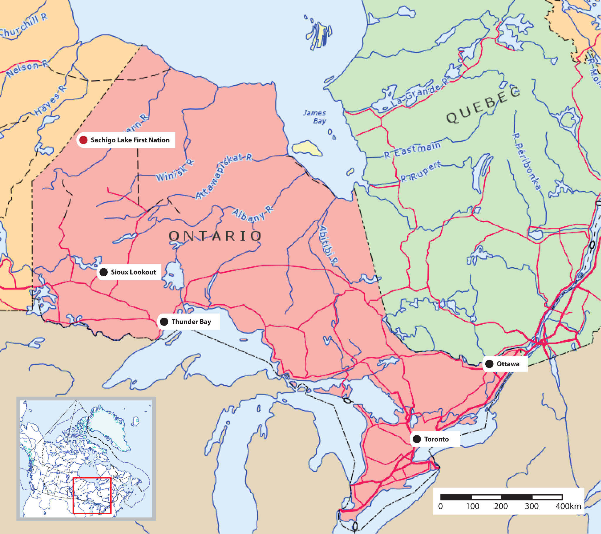 Map of Ontario showing Sachigo Lake First Nation.
