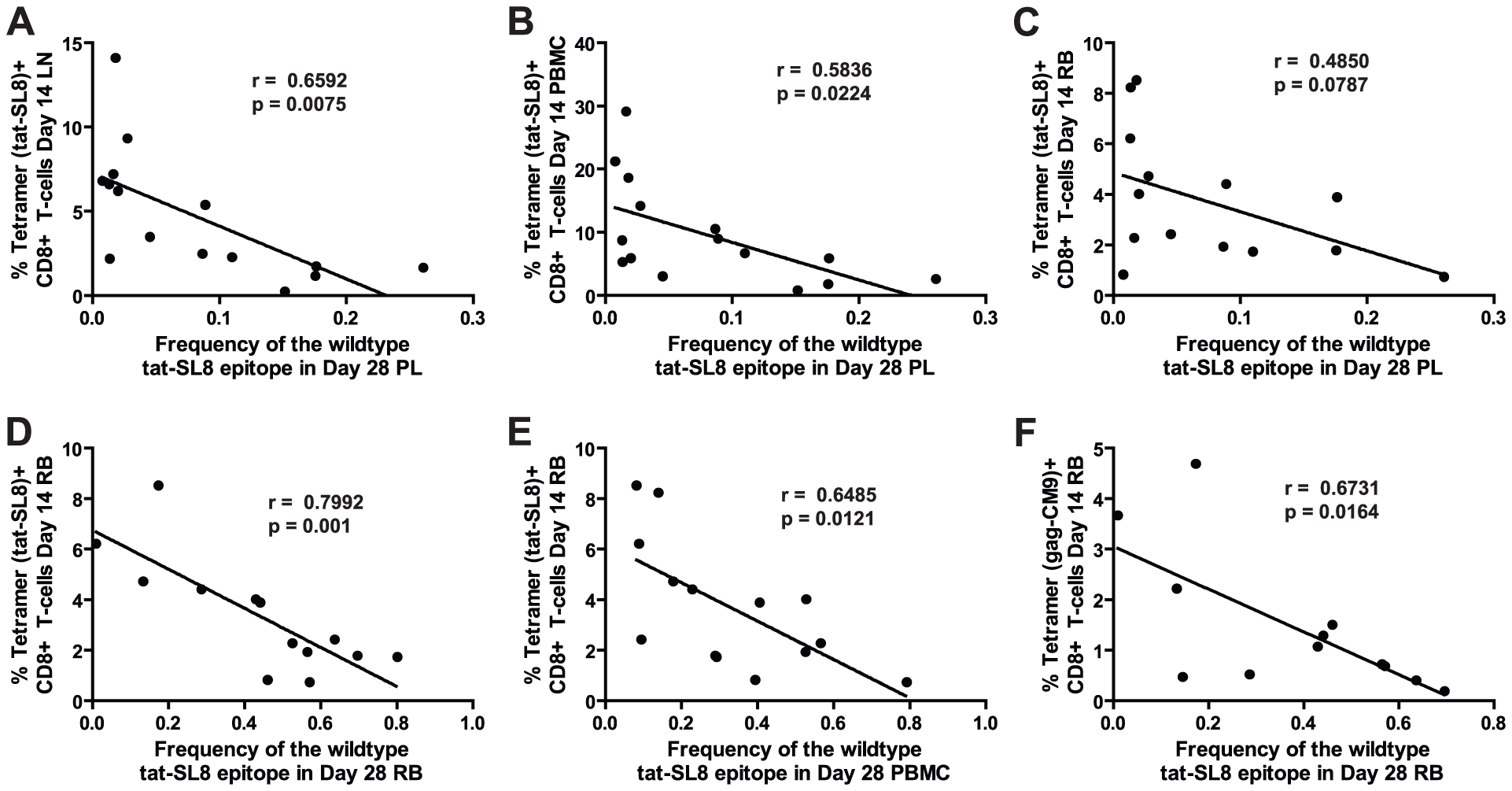 Anti-SIV immune responses in lymphoid tissues and rectal mucosa at day 14 post infection were significantly correlated with the level of tat-SL8 escape at day 28 post infection in the plasma virus and rectal mucosa, respectively.